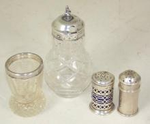 Antique Silver Collection to Include: Pepper Pot 1896,Pepper Pot 1921,Posy Vase 1900 & Condiment Jar 1873. All Hallmarked. (4 Items)