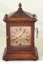 Antique Oak Winterhalder & Hofmeier 8 Day Mantle Clock. 19thc. Height 10inches. Working Order with Key.