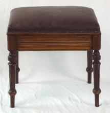 Victorian Mahogany Piano Stool. 19thc.The lift up padded seat with sheet music storage. Height 20 in.