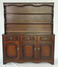 Vintage Oak Antique Style Dresser with Removable Rack. 20thc. Height 65 in. Width 54 in. Depth 16 in.