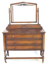 1920s Oak Dressing Table with 3 Drawers on Barley Twist Supports. Height 60 in.Width 42 in. Depth 19 in.