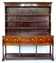 Antique 18thc Period Oak Welsh Dresser. Circa 1760. With 4 shelf rack with original cup hooks. Provenance:Purchased by vendors family from J.W.Needham Manchester 1921. Ex Hopwood Hall, Heywood. Height 87 in. Width 76 in Depth 19 in.