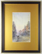 Louise J Rayner (1832-1924). Watercolour of Trinity Street Chester. Circa 1860s. This street view shows Trinity Church (Now the Guildhall) in the far background.Monogramme LR lower left.Framed under glass 5.5 x 9 inches.