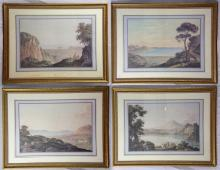 Jacob Mon Prints 'A View Near The Calmaldolese', 'A View of the Lake of Avernus', 'A View From Capo Du Monte', 'A View of the Bay of Pizzole' (4 items) Gilt Framed 65cm x 85cm