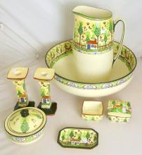 Royal Doulton 'Sampler' D3749 Seriesware Large Jug/Bowl,Soap Dish, Candlesticks Etc. (8 Items)