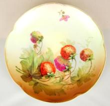 Antique Jager & Co Bavaria,Germany Handpainted Fruits Cabinet Plate Signed A Koch. Circa 1872. Diameter 8.5 inches.