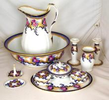 Keeling & Co 'Losolware' Large Jug/Bowl,Soap Dish,Candlesticks Etc. (11 Items)