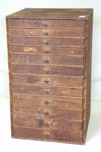 Victorian Pine Graduated 12 Drawer Miniature Collectors Cabinet. 19thc.  Height 18 in.Width 11.25 in. Depth 11 in.