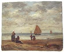 Jozef Israëls (Dutch 1824-1911) 'The Coast at Scheveningen'. Oil on Board. Signed lower left. Title & Jozef Israëls label to verso. Unframed 12 x 10 inches. Several medals have been conferred upon Israels in recognition of the merit of his work. He received a medal (third class) at the Paris Exposition of 1867, and another (first class) at the Exposition of 1878. He was decorated with the cross of the Legion of Honor in 1867, and created an officer of that order in 1878. The Order of Leopold has also been conferred upon him by the king of the Belgians. In 1883 the Munich International Exposition awarded him a gold medal (second class), and he received a gold medal (first class) from the Paris Exposition of 1889. At the Paris Exposition of 1900 he exhibited two paintings: