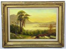 Edwardian 'Sunset' Landscape Oil on Canvas by WT or TW C.1904. Monogrammed  & dated by artist. Framed 29 x 19.5 inches.