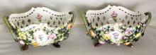 Antique Pair of Hirsch Handpainted Dresden Flower Encrusted Bowls with Retriculated Sides, Circa 1900. 10 x 8 inches.(2 Items)