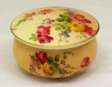 Royal Worcester Blush Ivory Floral Lidded Pot c.1907. Diameter 2 3/4 inches