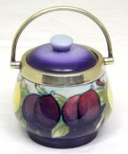 Moorcroft Wisteria Lidded Jam Pot with Plums Decoration, Chrome Handled. Height 3 3/4 inches