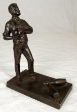 Fine Spelter Figure of a Bowler Early 20thc. Height 6 inches.
