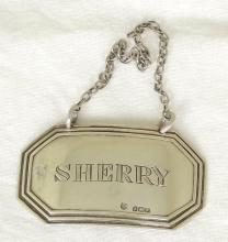 Silver 'Sherry' Decanter Label c.1930, Hallmarked Birmingham for Barker Brothers.