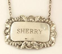 Silver 'Sherry' Decanter Label 20thc  Hallmarked Birmingham for Douglas Pell 13g.