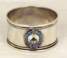 Silver Napkin Ring with Enamel Masonic Lodge (No 4622 Erdington) Crest by Hasset & Harper C.1925. Hallmarked Birmingham. 14g.