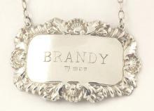 Silver 'Brandy' Decanter Label c.1973. Hallmarked London. 10.5g