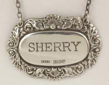 Silver 'Sherry' Decanter Label c.1979. Hallmarked Birmingham for C. Robathan & Son. 12g