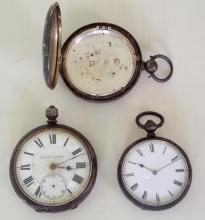 2 Silver Antique Pocket Watches and a Silver Pocket Watch Case for Spares or Repair. (3 Items)