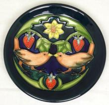 Moorcroft Pin Dish with Lovebird & Strawberries Decoration on Green Ground. Diameter 4 3/4 inches