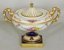 A Royal Worcester Urn-Shaped Vase and Cover. Circa 1904. 4.75 x 6.5 inches.