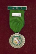 Cased Silver 'Ancient Order of Foresters' Service Medal. Circa 1960. Hallmarked Birmingham.