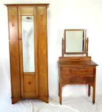 Art Deco Dressing Table & Single Wardrobe Set in Solid Oak. Circa 1930s. (2 Items)