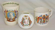Antique Queen Victoria 1897 Diamond Jubilee Vase. A 1935 King George V & HM Queen Mary Silver Jubilee Mug. A 1937 KG V1 Coronation Beaker by Royal Doulton.  (3 Items)