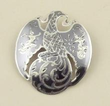 Silver and Niello 'Shiva-Mahadeva' Pendant/Brooch. Marked Sterling.