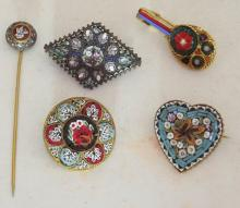 Collection of Micro Mosaic Brooches and Scarf Pin. (5 Items)