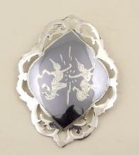 Silver and Niello 'Shiva-Mahadeva' Brooch. Marked Siam Sterling.