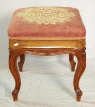 Antique Victorian Carved Walnut Stool. 19thc.  Upholstered in a pink brocade with central flower decoration. Height 21 inches.