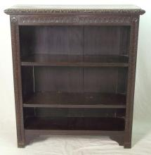 Antique Victorian Carved Oak Dwarf Bookcase. 19thc. Two shelves.  Height 41 in.  Width 35.5 in Depth 12 in.