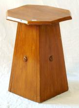 Antique Mahogany Octagonal Stool. Early 1900s. Height 17 in.