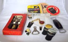 Guinness Advertisement Collection including Boxed Bottle Opener/Corkscrew Set, 3 x Lapel Badges, Coasters, Keyring, 2x Bottle Openers and Shot Glass (25 items)