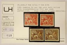 Great Britain 1924 Wembly 1d & 1 1/2d M Mint Line/Comb Perforation Varieties. SG 430/431. (4 Stamps)