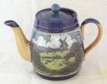 Royal Doulton Teapot with Country Scene Decoration. Height 6 1/4 inches.