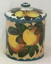 Wemyss Lidded Storage Jar with Apples Decoration. Height 6 1/4 inches. Oval T.Goode & Co Mark to Base, Impressed Wemyss.