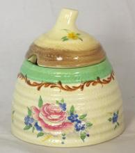 Clarice Cliff Beehive Preserve Pot with Pompadour Decoration. Height 4 inches,