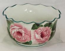 Wemyss Fluted Bowl with Cabbage Rose Decoration. Height 2 1/2 inches