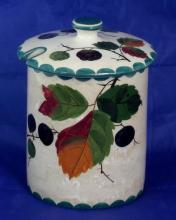 Wemyss Lidded Preserve Pot with Blackberries Decoration. Height 5 Inches