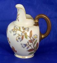 Royal Worcester Blush Ivory Jug with Floral Decoration c.1886. Height 5 inches.