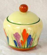 Clarice Cliff Bizarre Preserve Pot with Crocus Decoration. Height 3 1/2 inches.