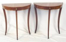 Pair 'Bevan & Funnel' Antique Style Mahogany Demi Lune Side Tables. 20thc. Height 27 in. Width 23 in. Depth 13 in.