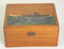 WWI Mahogany Needlework Box Handpainted with H M Submarine E17 and Titled 'Crew Interned in Holland 1916'. With letter stating the boxed was made by  C.A.J.Finnis Sub Mariner C/182091.
