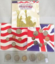 USA  1923 $1. 1977 $1. Silver 1964 Kennedy $ 1/2.  Kennedy $1/2 1976 & 1988.USA-UK 1997 United Coin Collection Double Mint Set