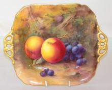 Royal Worcester Signed Two Handled Tray with Fallen Fruits Decoration c.1923, Artist Signature 'Price' . Factory marks to base. Diameter 28cm