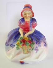 Royal Doulton Monica HN 1467 Figure Sitting Holding Basket of Roses. 1st Quality.