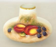 Royal Worcester Signed Squat Vase with Fallen Fruits Decoration c.1950, Artist Signature 'Roberts' . Factory marks to base. Height 7cm